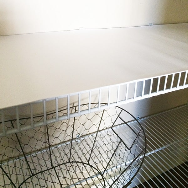 wire shelf covered